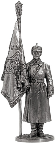 Senior sergeant of the Red Army with a banner. USSR, 1941; 54 mm