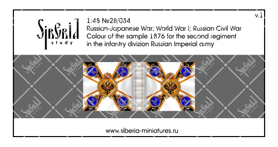 Colour M.1876 for the second regiment in the infantry division of the Russian Imperial Army; 1/48 (28 mm)