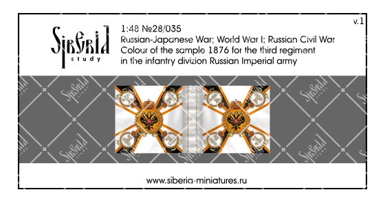 Colour M.1876 for the third regiment in the infantry division of the Russian Imperial Army; 1/48 (28 mm)