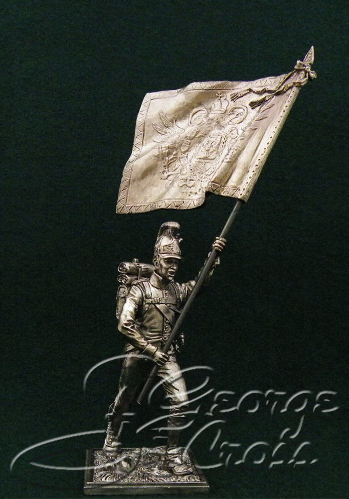 Standard Bearer with the battalion banner German regiments Line Infantry. Austria-Hungary, 1805-14; 54 mm