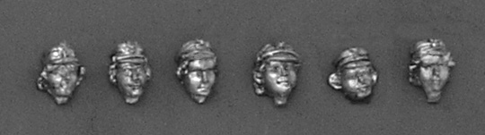 "Set of four female heads in cap ""maciejówka"" and one - in the Austrian cap; 28 mm"