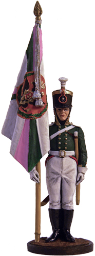Ensign Pskov musketeer regiment with the banner. Russia, 1803-06; 54 mm