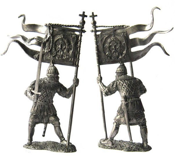 Russian warrior-standard bearer, 14th century; 54 mm
