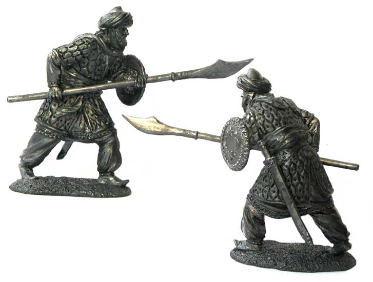 Heavily armed Muslim warrior, 12-13 centuries; 54 mm
