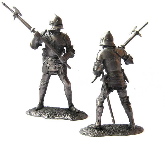 English men at arms, 15th century; 54 mm