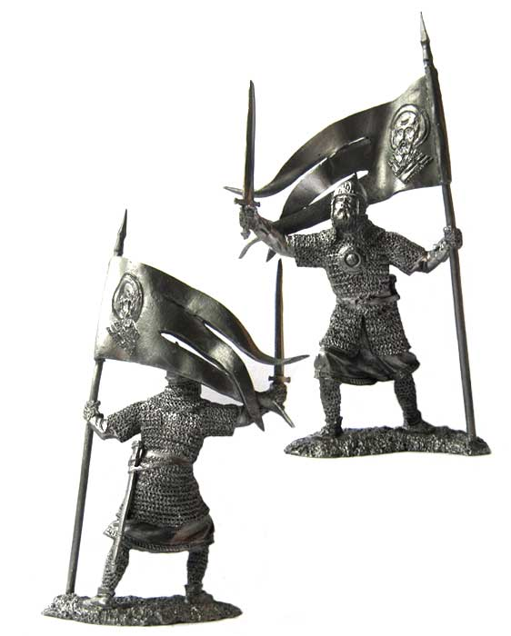 Russian warrior-standard bearer, 13th century; 54 mm