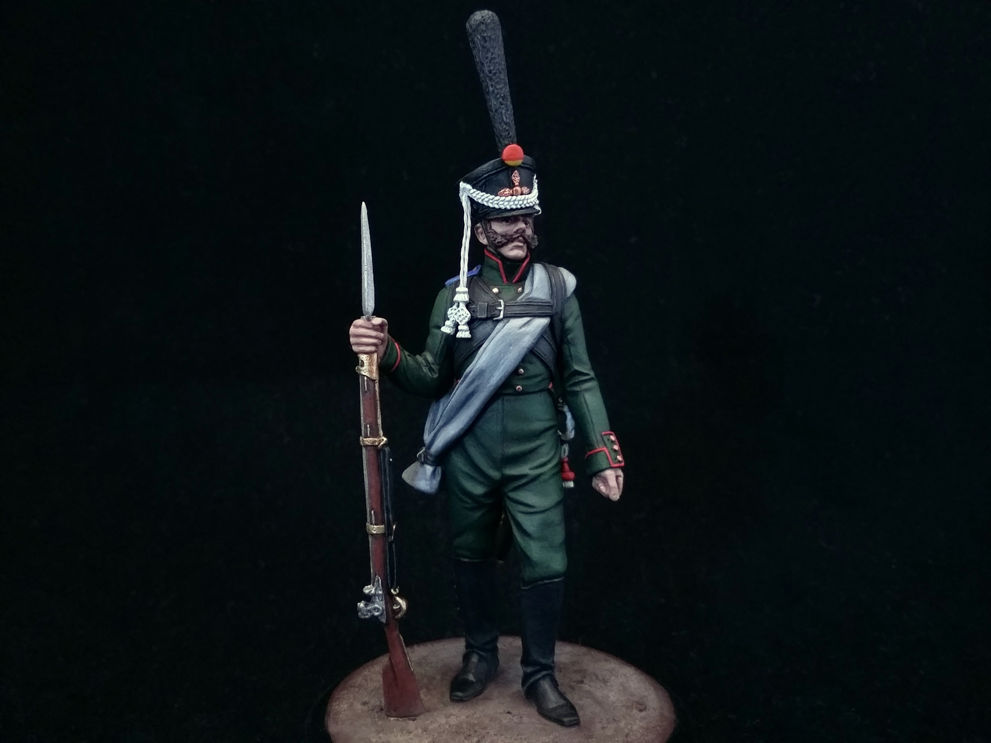 Private grenadier company of the 21st Jäger Regiment. Russia; Painted figure 54 mm