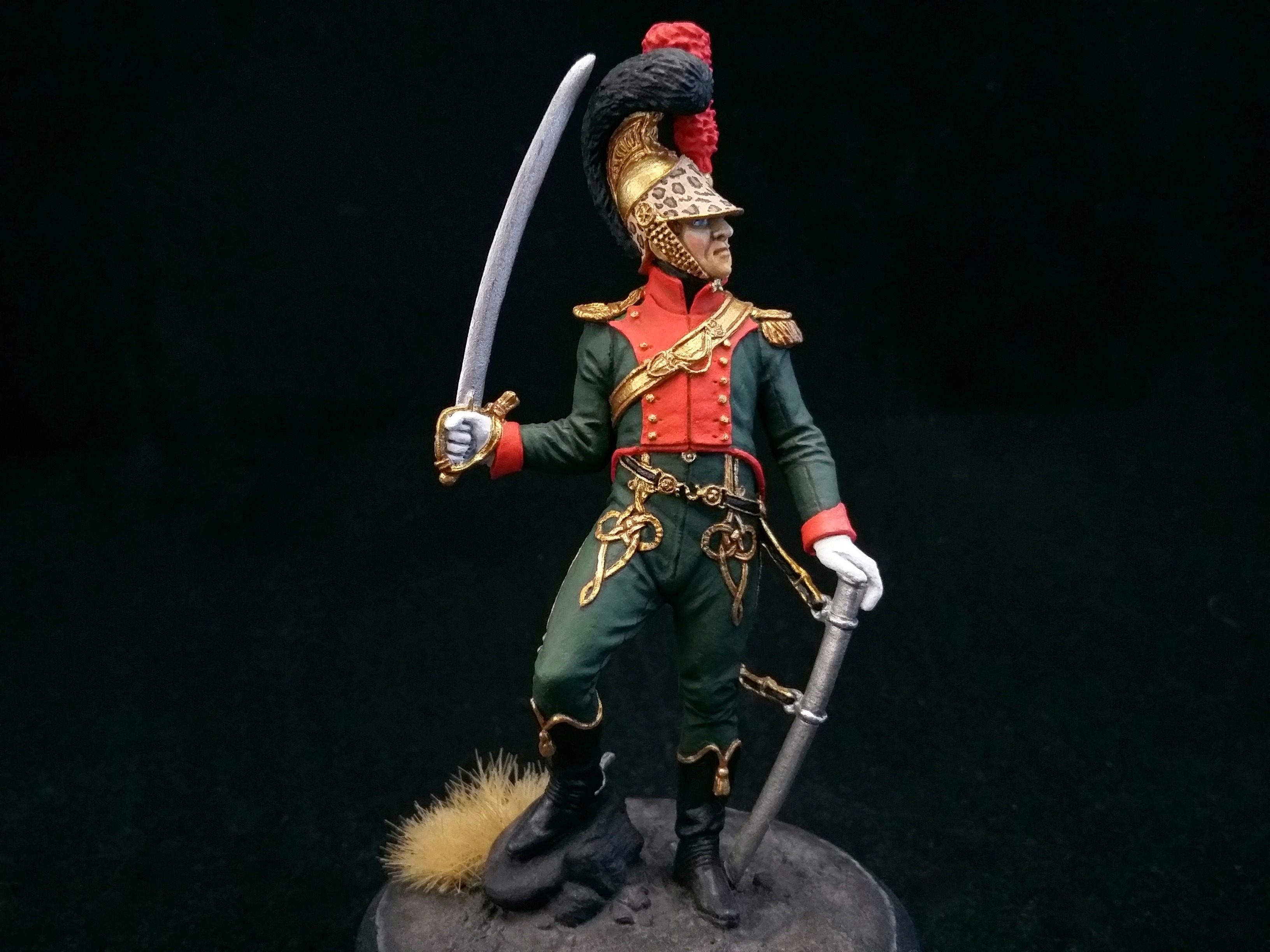 Officer 2nd Chevau-léger regiment. France; Painted figure 54 mm