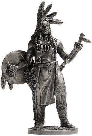 American Indian with shield and tomahawk; 54 mm