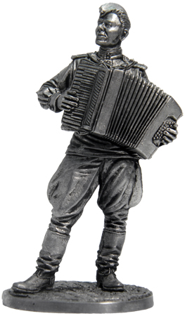 Lieutenant of the Red Army with accordion. 1944-45, USSR; 54 mm