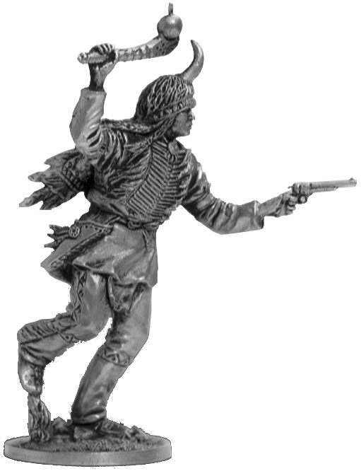 Native American running with a mace and a gun; 54 mm