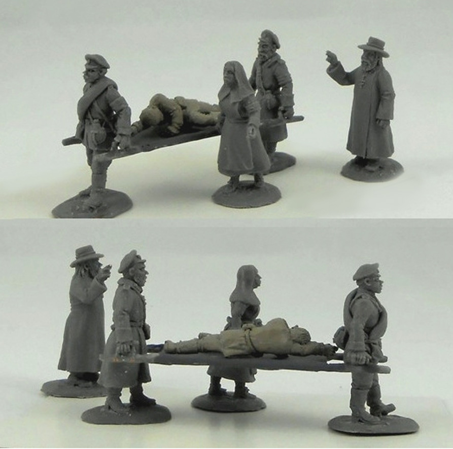 Evacuation of the wounded - a composition of 4 figures; 28 mm