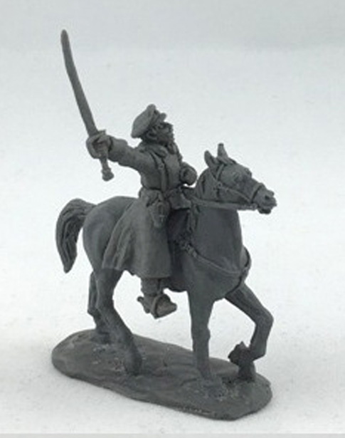 Mounted officer in an greatcoat; 28 mm