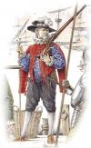 The English musketeer on the Dutch service. Second half XVI centuries.