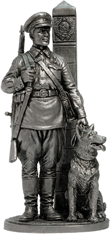 Junior sergeant of the Border Troops of the NKVD with a dog, 1941 USSR, 54 mm